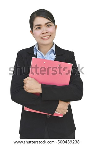 Portrait of happy young business woman holding clipboard with checklist isolated on white background with clipping path.