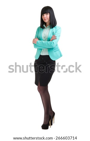 Portrait of happy young business woman isolated on white background in full body - stock photo
