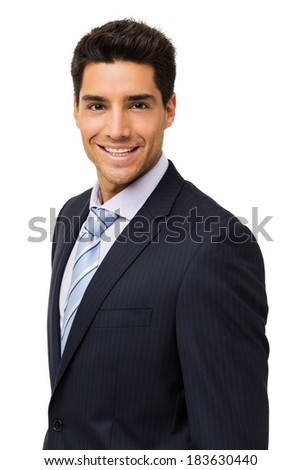 Portrait of happy young businessman isolated over white background. Vertical shot.