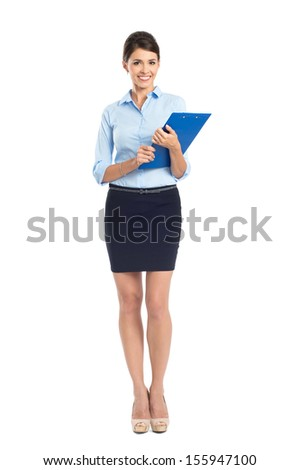 Portrait Of Happy Young Businesswoman Standing Isolated Over White Background - stock photo