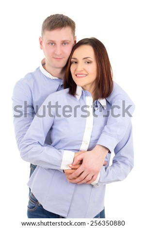 portrait of happy young couple isolated on white background