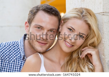 Portrait of happy young couple - love couple.  - stock photo