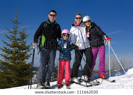 portrait of happy young family at beautiful winter sunny day with blue sky and snow in background - stock photo