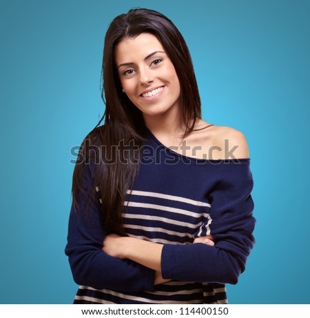 Portrait Of Happy Young Girl On Color Background - stock photo