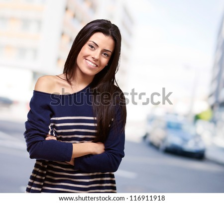 Portrait Of Happy Young Girl, Outdoor