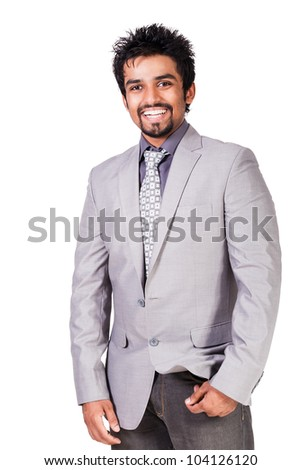 portrait of happy young Indian Businessman, handsome young Indian Businessman isolated on white