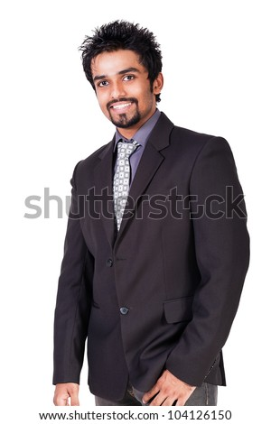 portrait of happy young Indian Businessman, handsome young Indian Businessman isolated on white - stock photo