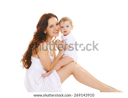 Portrait of happy young mother and her cute little baby together - stock photo