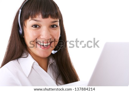 Portrait of happy young woman calling while her work - stock photo