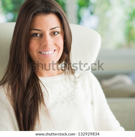 Portrait Of Happy Young Woman, Indoors