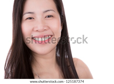 Portrait of  happy young woman smiling isolated on  white background