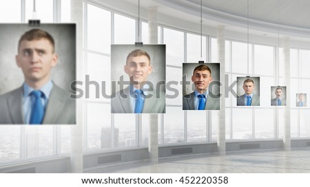 Portrait of headless businessman . Mixed media - stock photo