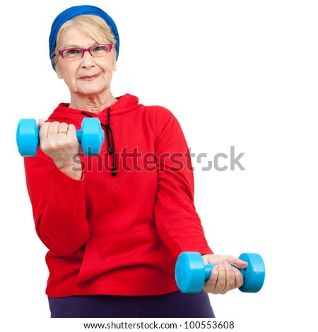 Portrait of healthy elderly woman with weights.Isolated on white. - stock photo