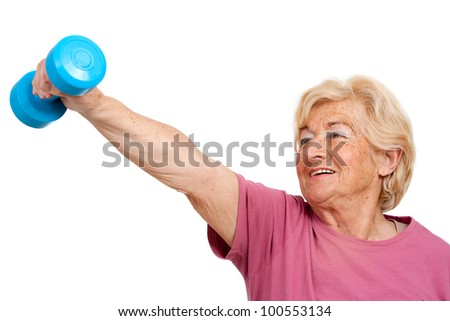 Portrait of healthy senior woman doing fitness exercise.Isolated on white. - stock photo