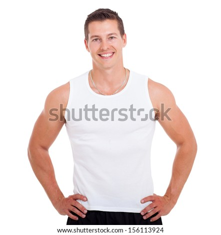 portrait of healthy young man posing on white background - stock photo