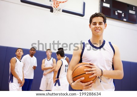 Portrait Of High School Basketball Player - stock photo