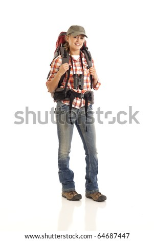 Portrait of hiker - stock photo