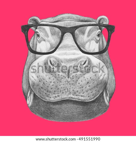 Portrait of Hippo with glasses. Hand drawn illustration.