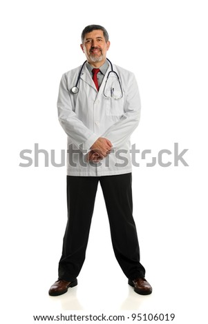 Portrait of Hispanic doctor standing isolated over white background