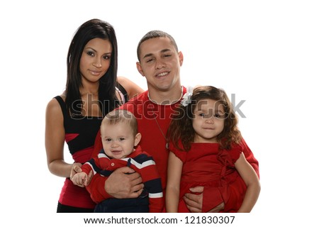 Portrait of Hispanic Family isolated on a white background