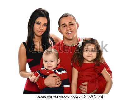 Portrait of Hispanic family with son and daughter isolated over white background