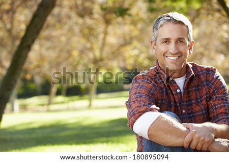 Portrait Of Hispanic Man In Countryside - stock photo