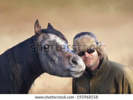 Portrait of  horse and man in cap  - stock photo