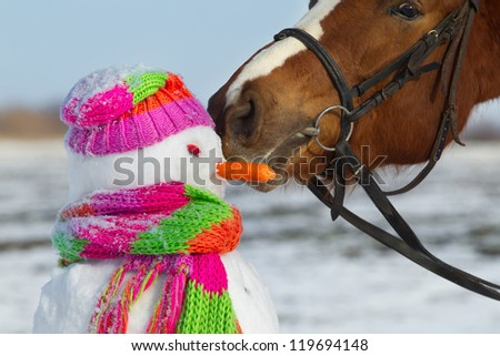 Portrait of horse and snowman in winter landscape. - stock photo