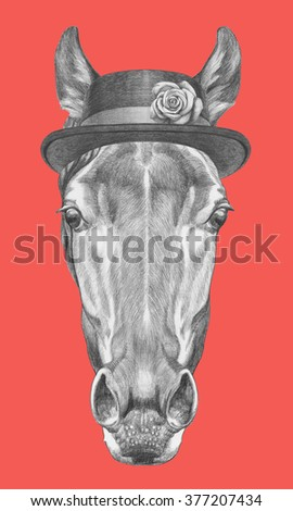 Portrait of Horse with hat. Hand drawn illustration. - stock photo