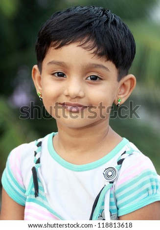 Portrait of Indian Cute Girl - stock photo