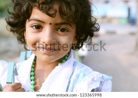 Portrait of Indian girl - stock photo