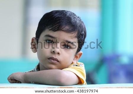 Portrait of Indian Little Boy - stock photo