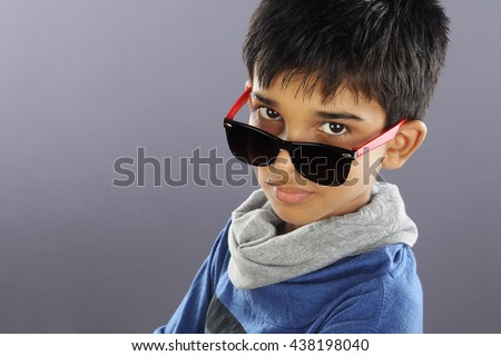 Portrait of Indian Little Boy with Sunglasses - stock photo
