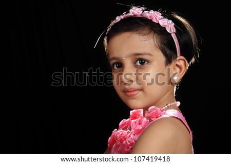 Portrait of Indian Little Girl - stock photo