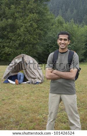 Portrait of Indian man at campsite - stock photo