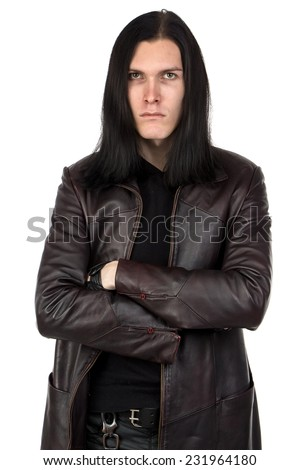Portrait of informal man with long hair on white background - stock photo
