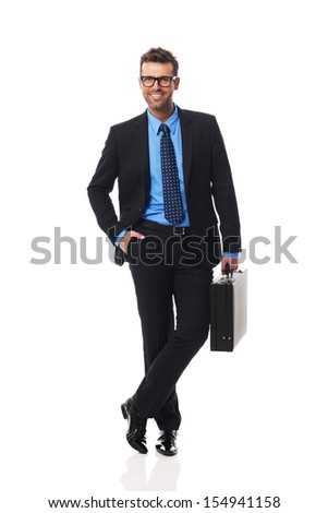 Portrait of intelligent business man - stock photo