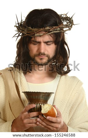 Portrait of Jesus holding a cup and bread isolated on a white background - stock photo