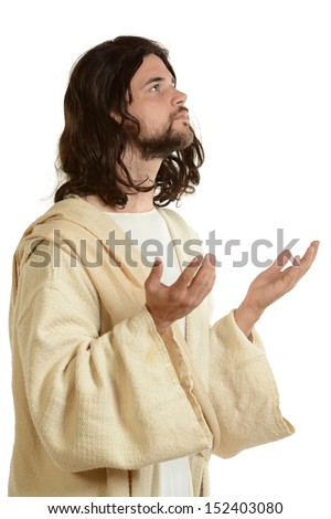 Portrait of Jesus praying and looking up isolated on a white background - stock photo