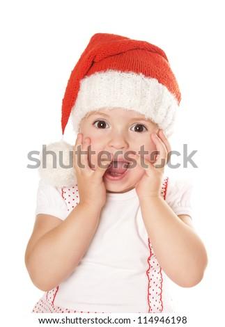 Portrait of joyful beautiful little girl in hat of santa claus isolated on white background - stock photo