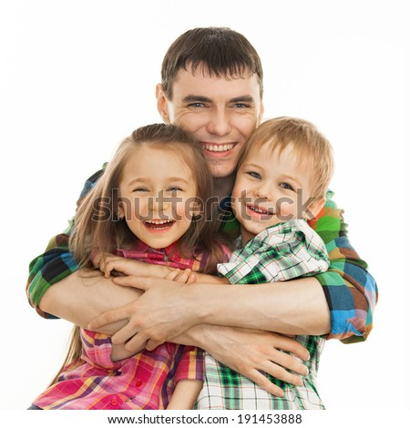 Portrait of joyful father hugging his son and daughter. Isolated on white background. Fathers day, family holiday, vacation - stock photo