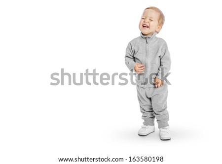 Portrait of joyful happy little boy - stock photo