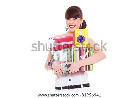 portrait of joyful woman with gifts. isolated on white background