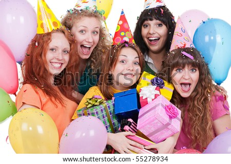 portrait of joyful women with gifts and balloons. isolated on white background