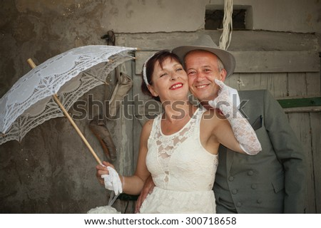 Portrait of just married couple - stock photo