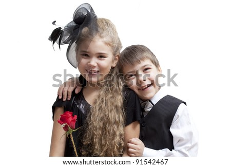 Portrait of kids, isolated on a white background - stock photo