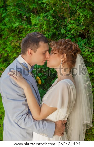 Portrait of kissing newlyweds.The groom kisses his bride while her eyes closed.Love relationship.wedding day     - stock photo