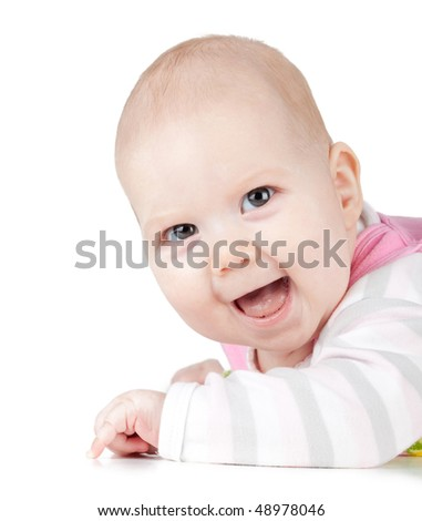 Portrait of laughed small baby. Isolated on white background