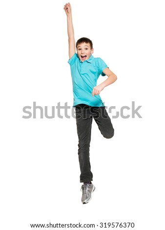 Portrait of  laughing happy teen boy jumping with raised hands up - isolated on white background