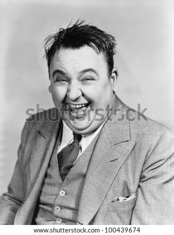 Portrait of laughing man - stock photo